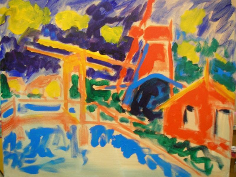hangbrug en molen