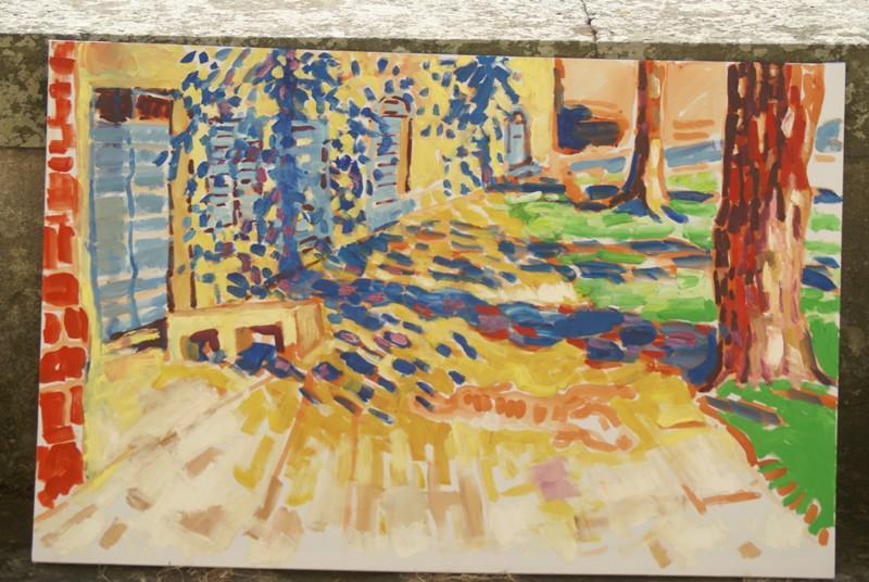 schilderij zicht op het terras