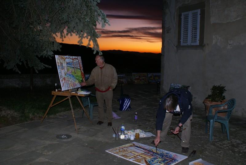 Schilderen tot zonsondergang in Petrognano