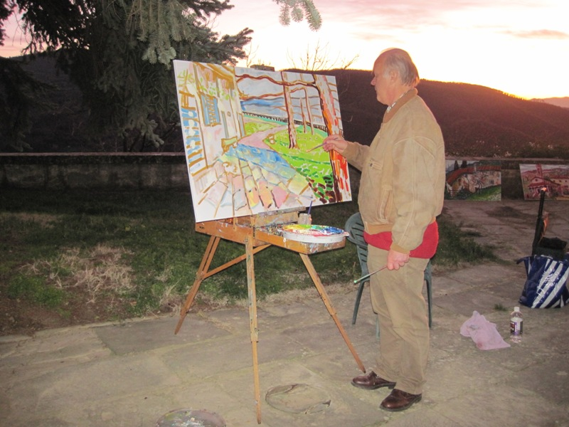 Robin schildert op landgoed Petrognano