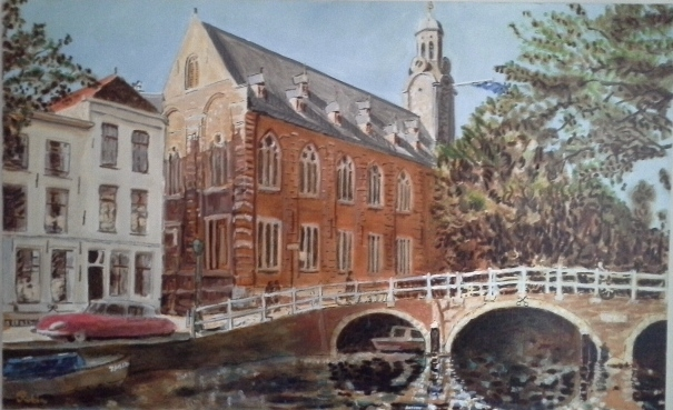 Academie gebouw Leiden, 100 x 160, olie op doek, coproductie
