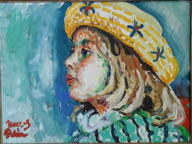 Meisje met gele hoed