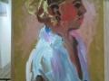 Portret  van vrouw in witte blouse